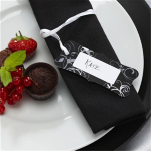 10 Personalised Wedding Favour Tags with White Ribbon - Luxury Party Accessories