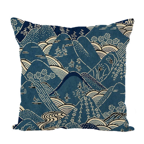 Decorative Linen Square Throw Pillow Japanese-style Cushion 45 X 45 CM-A2