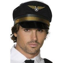 Black Pilot's Cap -  cap fancy dress pilots mens stag night costume captain hat flight airline