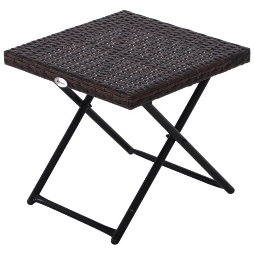 Outsunny Garden Small Folding Square Rattan Coffee Table Bistro Balcony Outdoor Wicker Weave Side Table 40H x 40L x 40Wcm Brown