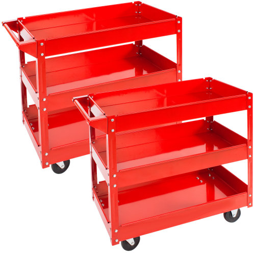 2 tool trolleys with 3 shelves - red