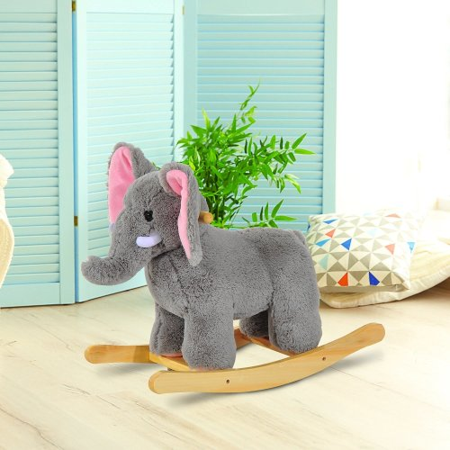 Homcom Grey Elephant Rocker | Kids' Ride-On Elephant Toy