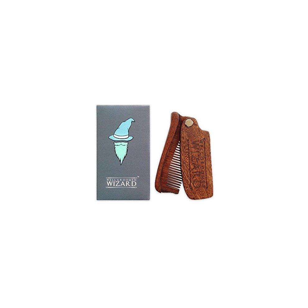 Well Groomed Wizard Folding Sandalwood Beard Comb, Wooden Anti-Static Beard  Grooming Comb for Men