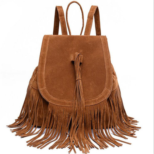 Women's Fringed Backpack Tassel Shoulder Bags