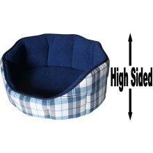 """Dog Bed Thick Blue Chequered Material Fleece 30"""""""