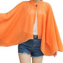 Sun Protective Clothing - Summer Chiffon Shawl Beach Coats Jackets Orange