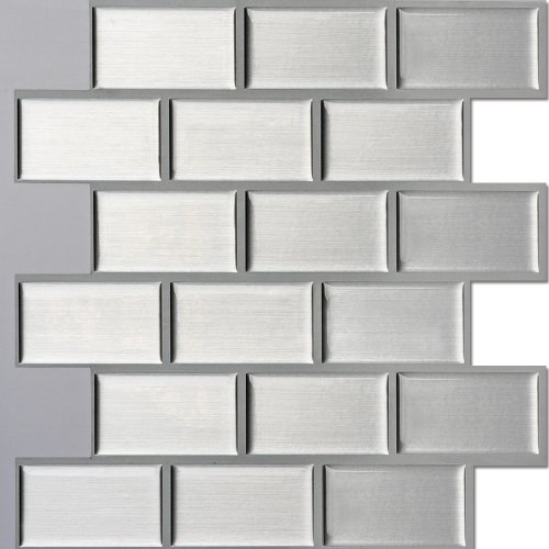 """Ecoart Wall Tile Stickers Peel and Stick Self Adhesive Wall Tile 10"""" X 10"""" Pack of 6 (Brick Style) (3D,Heat resistant,Waterproof)"""