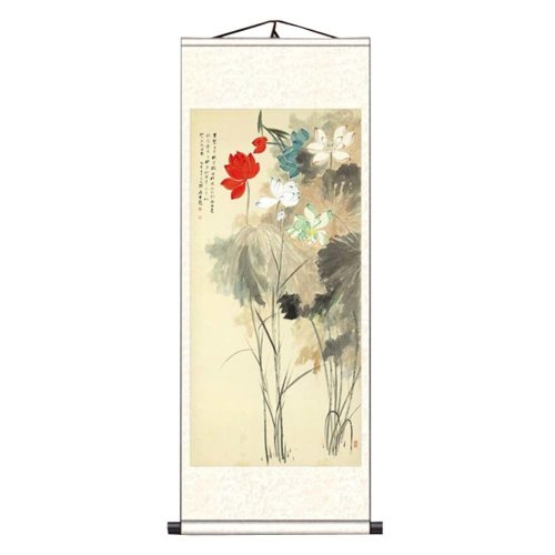 3a8be4f76 Chinese Scroll Painting Home Decor Silk Scroll Hanging Art Lotus Flower, 22  on OnBuy