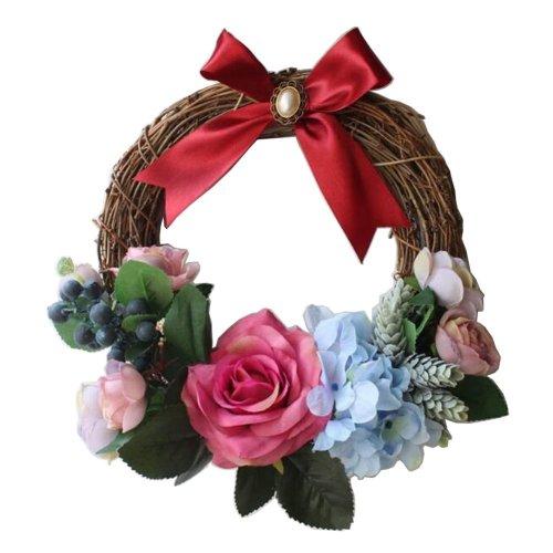 [Red-1] Artificial Wreath Hanging Garland Door Wreath Wedding Decor