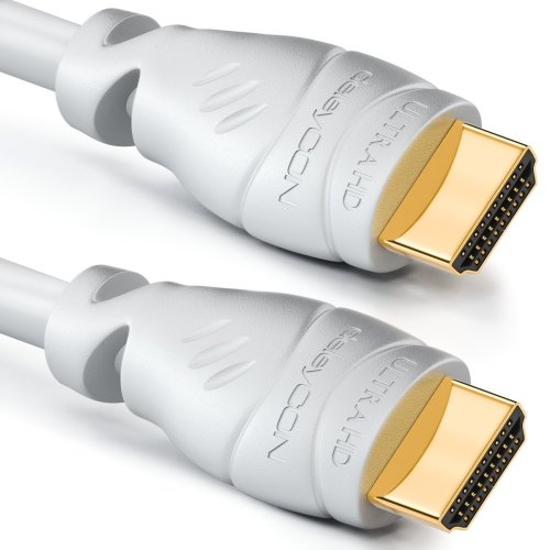 deleyCON 1.5m (4.93 ft.) HDMI cable - compatible with HDMI 2.0a/b/1.4a - UHD 4K HDR 3D 1080p 2160p ARC PoE - High speed with Ethernet - white