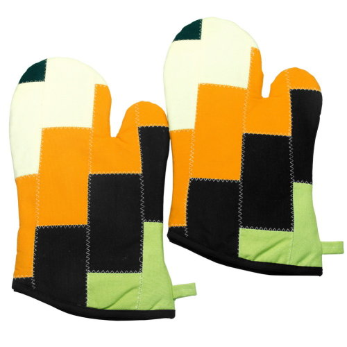 [Stairs] Heat Resistant Patchwork Micro-Oven Gloves/Canvas Mitts 2-Pack