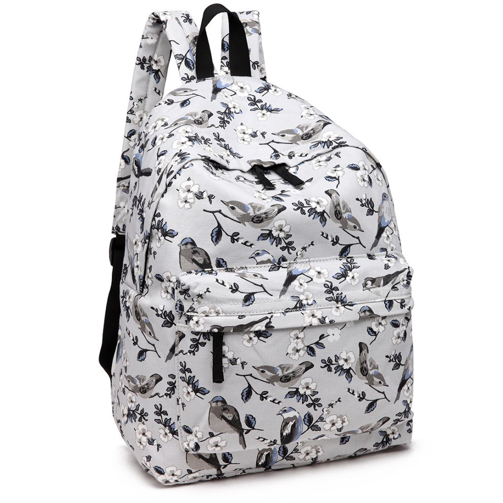 26b90abb6 ... Miss Lulu Backpack Girls School Bag Bird Flower Canvas Rucksack - 3 ...