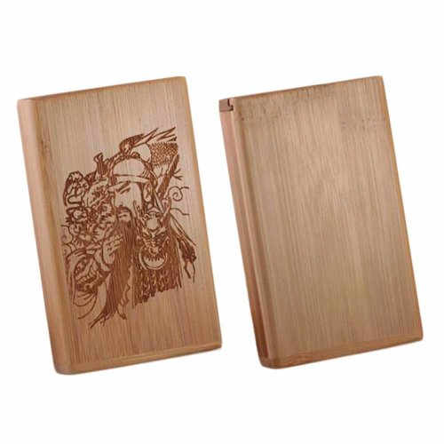 Chinese Style Wooden Cigarette Case Holder Bamboo Pocket Magnetic Cigarette Case, For 20 Thin Cigarettes Use, Guan Yu