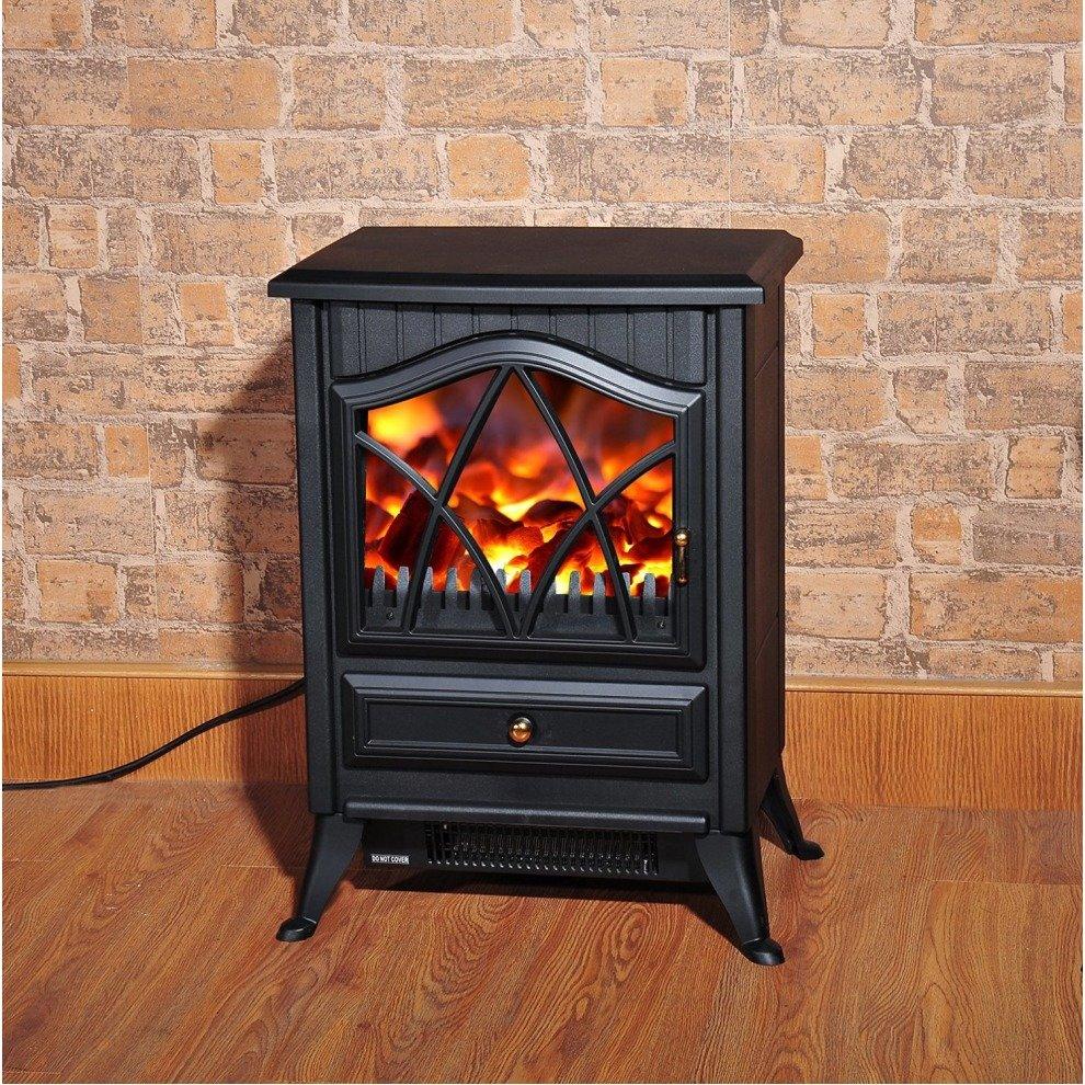 Homcom Freestanding Electric Fireplace Log Burning
