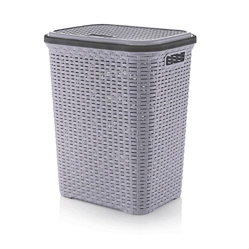 (Metallic Grey) Plastic 56L Laundry Basket | Rattan Style Washing Bin