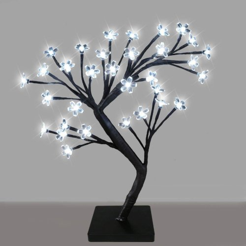 Sentik Decorative Cherry Blossom Bonsai Style Tree Table Lamp Light with 32 Glorious LED's - 45cm (White)