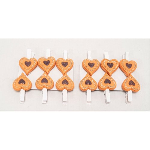 Set of 12 Mini Wooden Heart Shaped Cookie Christmas Peg Decorations