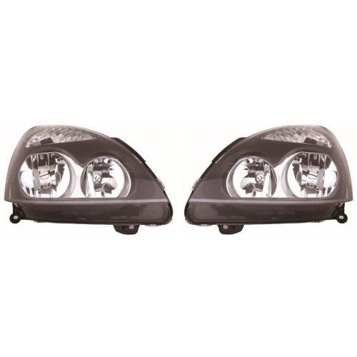 Renault Clio Mk2 Hatchback 4/2001-2005 Black Headlights Headlamps Pair O/S & N/S