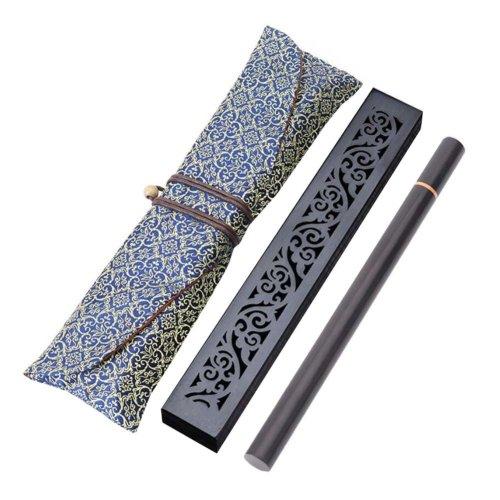 Wooden Incense Burner Box Ebony Wood Incense Stick Burner with Incense Tube, 22