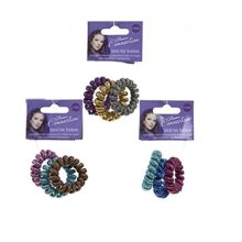 3 x Pack Of 3 Metallic Coloued Elasticated Spiral Pony Tail Hair Bobbles No Pain -  3 x pack metallic coloued elasticated spiral pony tail hair
