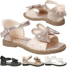 Kyra Girls Kids Toddler Bunny Ear Glitter Ankle Strap Sandals Childrens Shoes