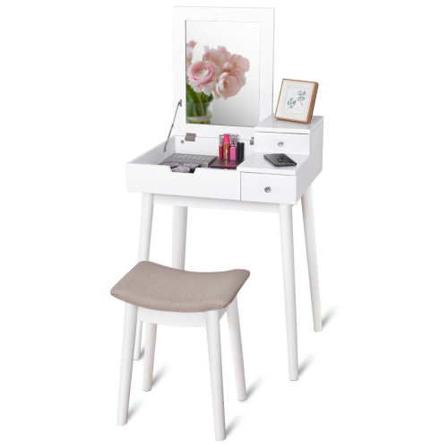 Small White Vanity Table Set | White Modern Dressing Table
