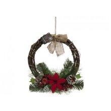 14' Rattan Wreathe With Poinsettia And Bow. - 1435cm Christmas Wreath Bow Garl -  1435cm christmas rattan wreath poinsettia bow garland xmas decor