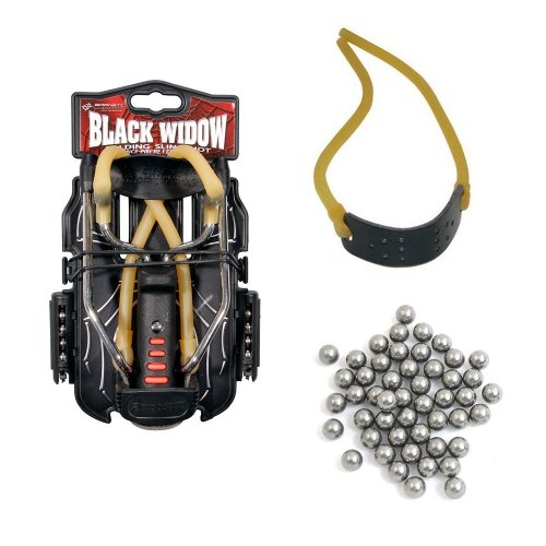 Genuine Barnett Black Widow Catapult Starter Pack - Slingshot  Ammo and Elastic