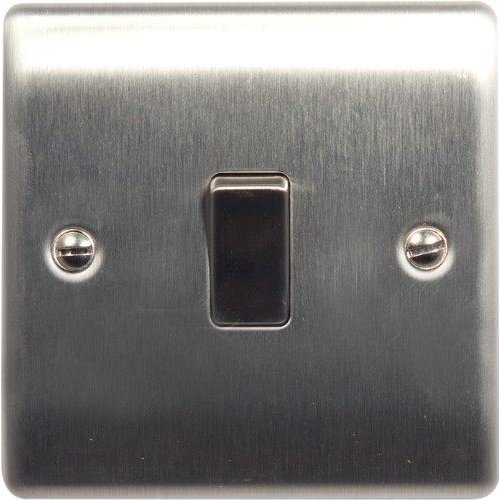 British General NBS12 Stainless Steel Light Switch 1 Gang, 2 Way