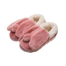 Cute Cartoon Rabbit Plush Slippers Winter Warm Indoor Slippers for Women,RED