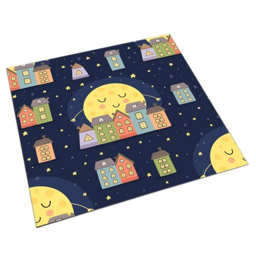 Square Cute Cartoon Children's Rugs, Good Night Multiple Moons And Houses