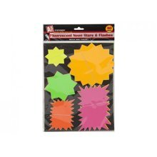 Pack Of 40 Flourescent Neon Star & Flash Cards