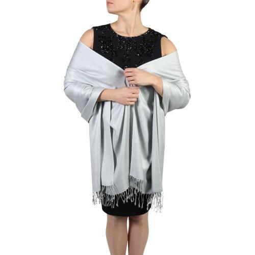 (Silver) York Shawls Fairtrade Handcrafted Soft Pashmina Wrap