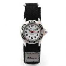 Ravel Analogue Boys Black & Grey Fabric Velcro Strap Watch R1507.29