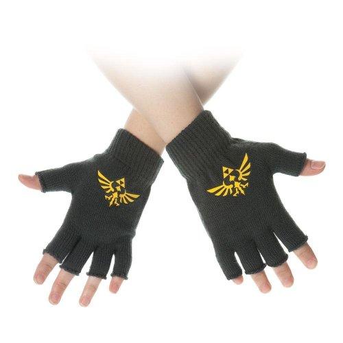 Nintendo Legend Of Zelda Yellow Royal Crest Fingerless Gloves - Green
