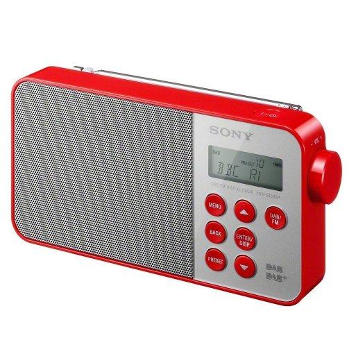Sony XDR-S40DBPR Red DAB+/DAB/FM Ultra-Compact Digital Portable LCD Radio