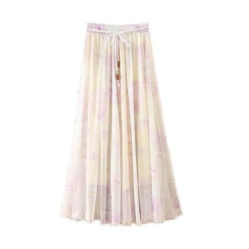 Purple Clouds Pattern Summer Chiffon Skirt Large Swing Skirts Fairy Skirt