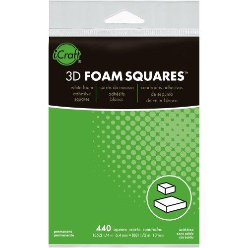 """3D Foam Squares Combo Pack-White (352) .25"""" & (88) .5"""" 440/Pkg"""