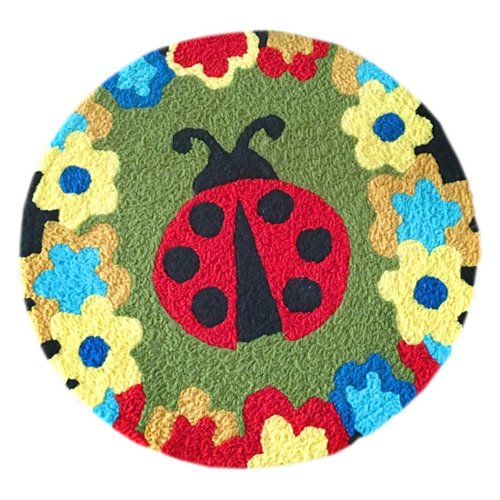 [Ladybug] Children Bedroom Decor Rug Embroidered Mat Cartoon Carpet,23.62x23.62 inches