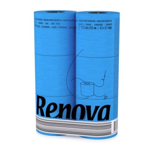 Renova [6 Rolls Blue] 3 Ply Soft Colour Toilet Loo Bathroom Tissue Paper Rolls