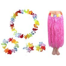 Novelty Adult Grass Dress Performance Costume Set Pink