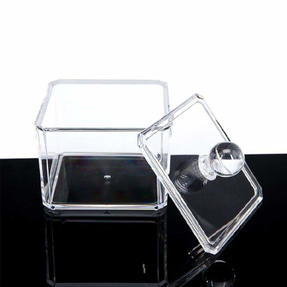 e8c133dba0 ... PuTwo Makeup Organiser Bathroom Storage Cotton Buds Dispenser Cotton  Swabs Holder with Lid - Square ...