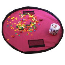 Baby Kids Play Floor Mat Toy Storage Bag  Quickly Easily Folds Up,rose red