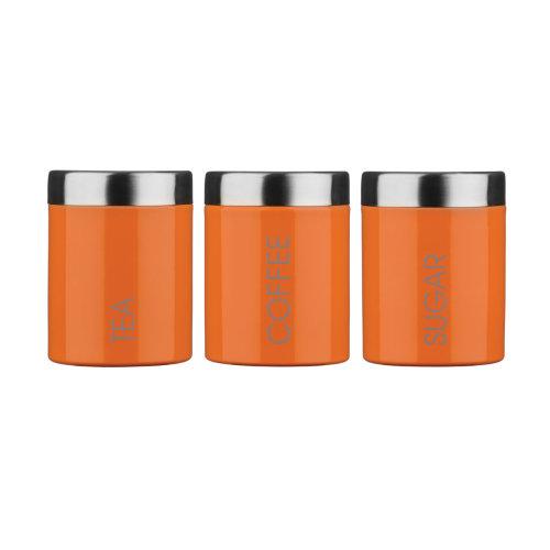 Set of 3 Tea Coffee Sugar Enamel Canisters - Orange