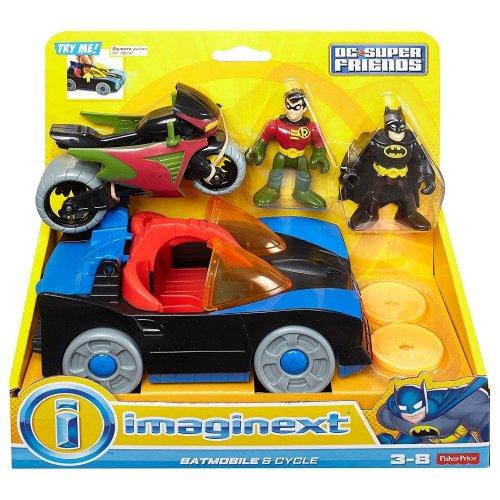 Fisher-Price CGL38 Batman Imaginext DC Super Friends, Batmobile & Cycle