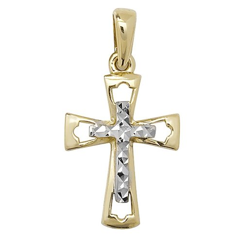 Childrens 9ct Gold Fancy Cross Pendant On A Prince of Wales Necklace