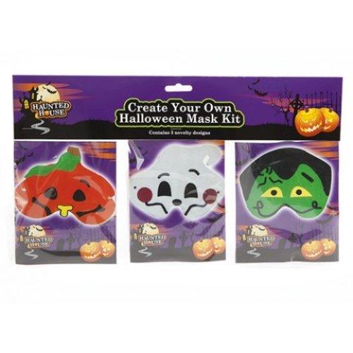 3 Piece Diy Halloween Funny Face Mask Set -  pack 3 halloween funny face diy trick treat fancy dress mask set