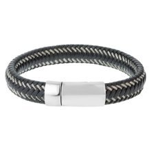 Urban Male 'Baltimore' Men's Contemporary Black Leather & Steel Bracelet