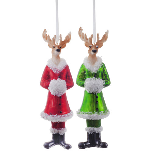 Set of Two Glass Reindeer Tree Ornaments in Red & Green Suits