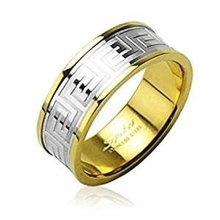 Gold Plated Surgical Steel Maze Design Ring